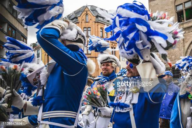 Members of the annual Rose Monday Carnival parade on March 4 2019 in Cologne Germany Cities throughout the Rhineland region are celebrating their...
