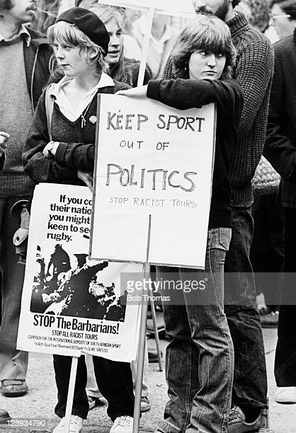 Members of the antiapartheid demonstration make their point against the South African Barbarians tour of Britain prior to the Rugby Union match...