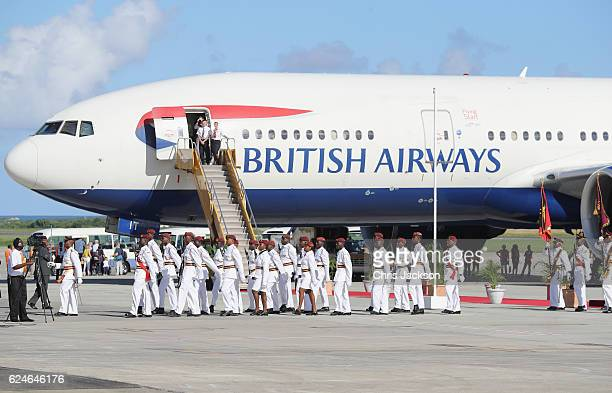 Members of the Antigua and Barbuda Defence Force are seen at VC Bird International Airport on the first day of Prince Harry's official visit to the...
