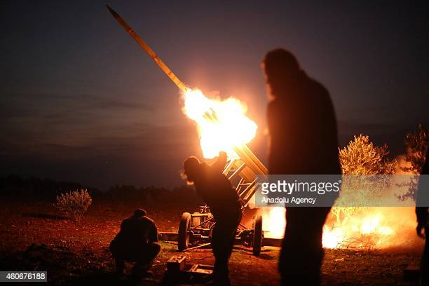Members of the anti-regimist Syrian Islamic Front launches missles to attack Al Nairab Military Airport and Aleppo International Airport to prevent...