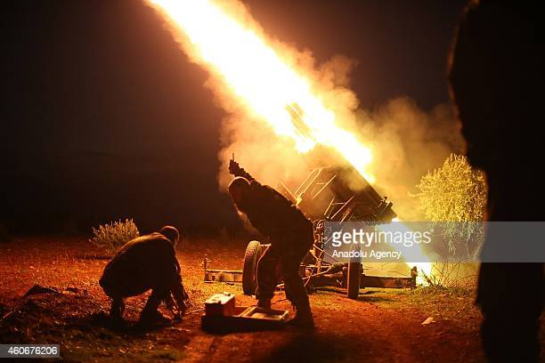 Members of the antiregimist Syrian Islamic Front launches missles to attack Al Nairab Military Airport and Aleppo International Airport to prevent...
