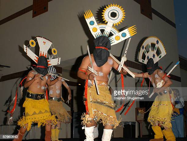 Members of the Apache Crown Dancers perform at the American Indian College Fund Gala at the Museum of the American West on May 20 2005 in Los Angeles...