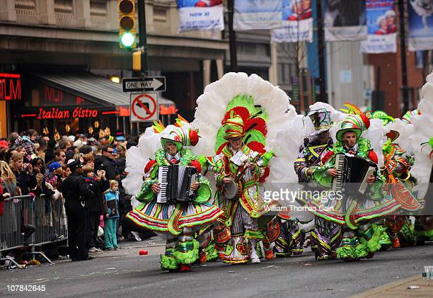Members of the Aqua String Banc march on Broad Street during the 2011 Mummers Parade January 1 2011 in Philadelphia Pennsylvania Thousands of people...