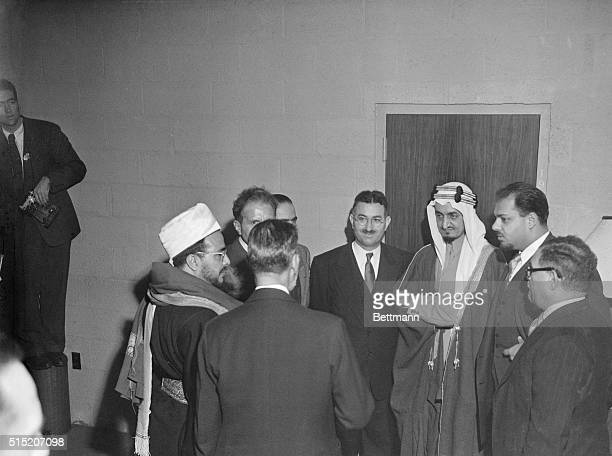 Members of the Arab league go into a huddle at today's meeting of the UN Gen Ass before the long bitter debate on the partition of Palestine into...