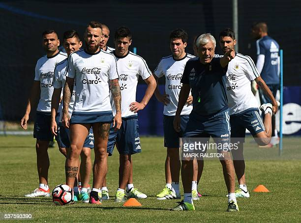 Members of the Argentina national team train at the San Jose State University before their upcoming COPA America 2016 soccer match against Chile in...