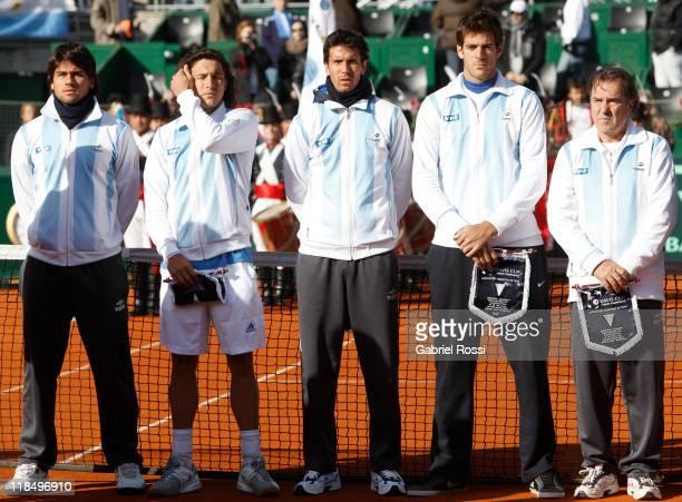 Members of the Argentine Davis Cup team Eduardo Schwank Juan Monaco Juan Ignacio Chela Juan Martin Del Potro and captain Modesto Vazquez pose for a...