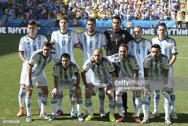 Members of the Argentinean national team pose for a picture prior to a Round of 16 football match between Argentina and Switzerland at Corinthians...