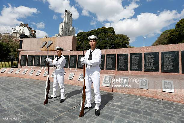 Members of the Argentinian Marine guard the Monument to the Fallen of Islas Malvinas War on March 27 2015 in Buenos Aires Argentina On April 02 1982...