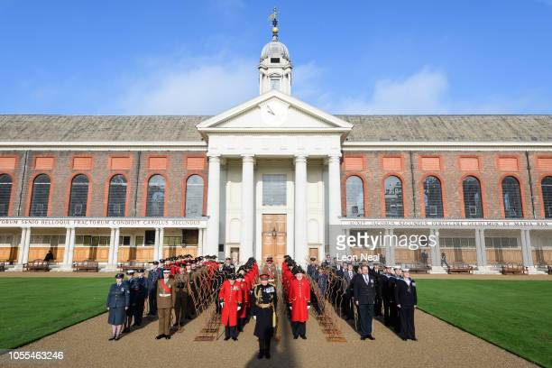 Members of the armed forces and Chelsea Pensioners are joined by General Lord Dannatt the former Chief of the General Staff as they take part in a...