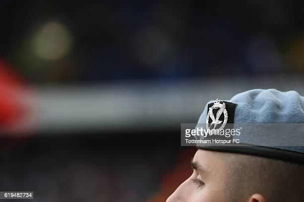Members of the armed forces during the rememberance service prior to the Premier League match between Tottenham Hotspur and Leicester City at White...