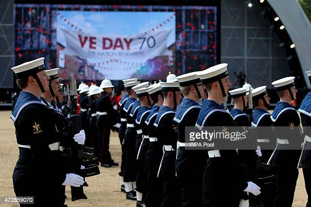 Members of the Armed Forces during the VE Day Parade to mark the 70th anniversary of VE Day at Horse Guards Parade on May 10 2015 in London England