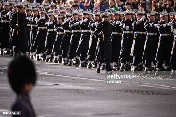 Members of the Armed Forces march during the annual Remembrance Sunday memorial on November 11 2018 in London England The armistice ending the First...