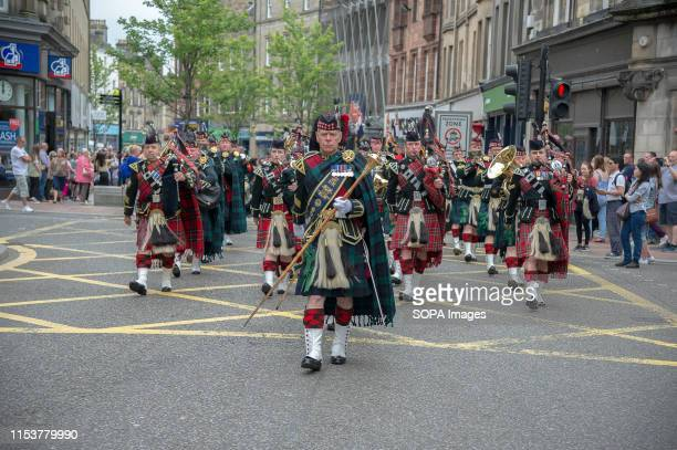 Members of the Armed Forces march during the parade Stirling shows its support of the UK Armed Forces as part of the UK Armed Forces Day events The...