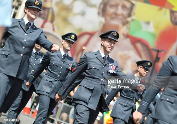 Members of the Armed Forces march in the parade during Pride In London on July 7 2018 in London England It is estimated over 1 million people will...