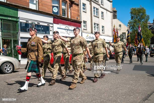 Members of the Armed Forces marching in the parade enroute to the event Stirling shows its support of the UK Armed Forces as part of the UK Armed...