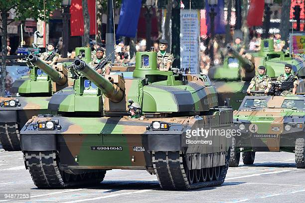 Members of the armed forces parade during the Bastille Day celebrations on the Champs Elysees in Paris France on Monday July 14 2008 Syrian President...