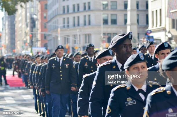 Members of the armed forces seen marching during the parade Thousands from more than 300 units in the Armed Forces took part in the Annual Veterans...