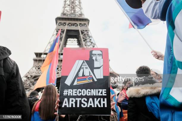 Members of the Armenian community and sympathizers demonstrated in Paris, France, on October 25 to protest against the war in Nagorno-Karabakh...
