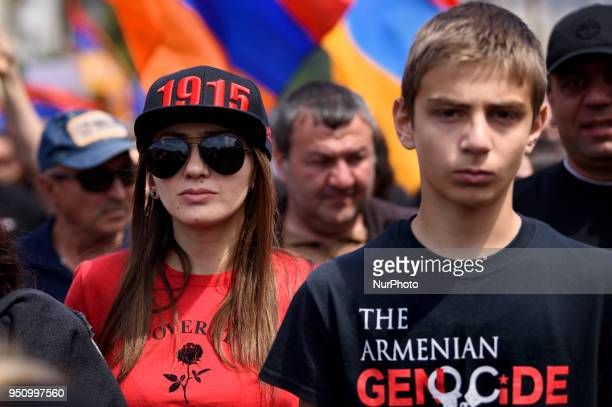 Members of the Armenian community gather to commemorate the 103rd anniversary of the Armenian Genocide Los Angeles California on April 24 2018