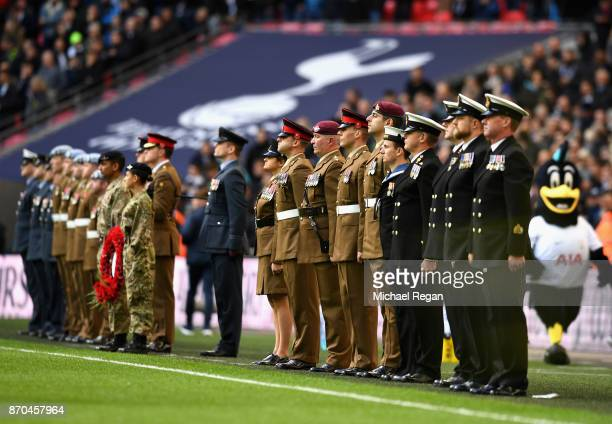 Members of the Army line up during a minute of silence for remeberance day prior to the Premier League match between Tottenham Hotspur and Crystal...