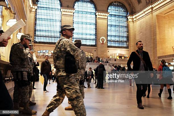Members of the Army National patrol in Grand Central Terminal on December 7 2015 in New York City Following a series of mass shootings in the US and...