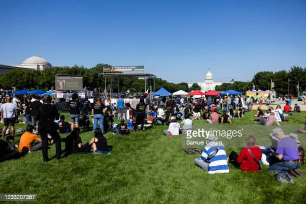 Members of the Asian American and Pacific Islander community and their allies attend a rally on the National Mall on May 31, 2021 in Washington, DC....