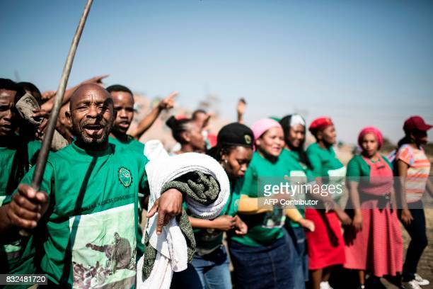 Members of the Association of Mineworkers and the Marikana community gather to commemorate the fifth anniversary of the Marikana Massacre in Marikana...