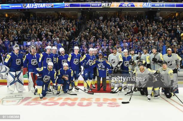 Members of the Atlantic Division and Metropolitan Division pose for a group photo during the 2018 Honda NHL AllStar Game between the Atlantic...