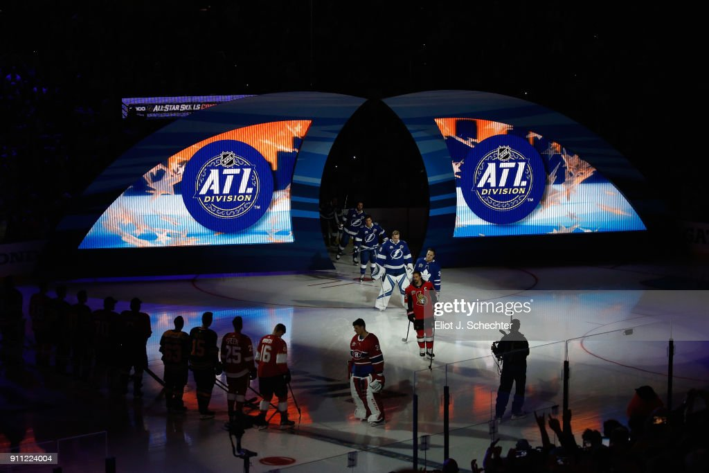 Members of the Atlantic Division team take the ice prior to the 2018 GEICO NHL All-Star Skills Competition at Amalie Arena on January 27, 2018 in Tampa, Florida.