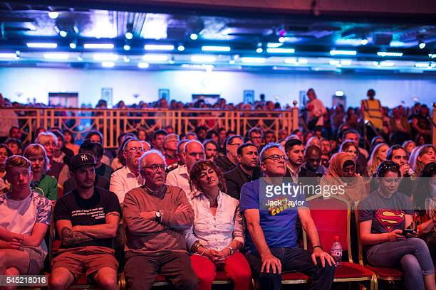 Members of the audience at a rally in support of Labour Leader Jeremy Corbyn by the grassroots group Momentum at The Troxy on July 6 2016 in London...