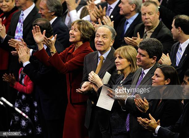 Members of the audience including right to left Meg Connolly former Mayoral candidate John Connolly and Gubernatorial candidate Martha Coakley during...
