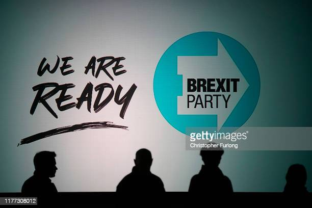 Members of the audience listen as Leader of the Brexit Party Nigel Farage speaks during the Brexit Party Conference tour at the Kent Event Centre...