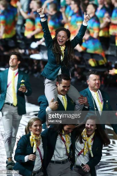 Members of the Australia team arrive during the Opening Ceremony for the Gold Coast 2018 Commonwealth Games at Carrara Stadium on April 4, 2018 on...
