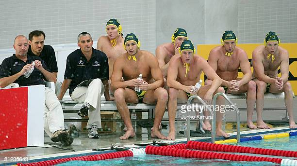 Members of the Australia team look on during the FINA Men's Water Polo World League 2008 Asia-Oceania Preliminary Round match between Australia and...