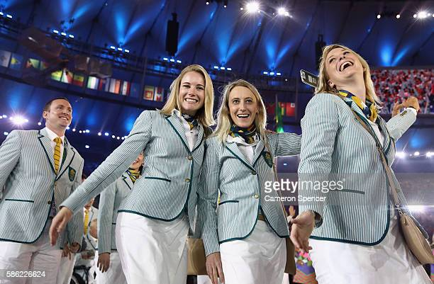 Members of the Australia team take part in the Opening Ceremony of the Rio 2016 Olympic Games at Maracana Stadium on August 5 2016 in Rio de Janeiro...
