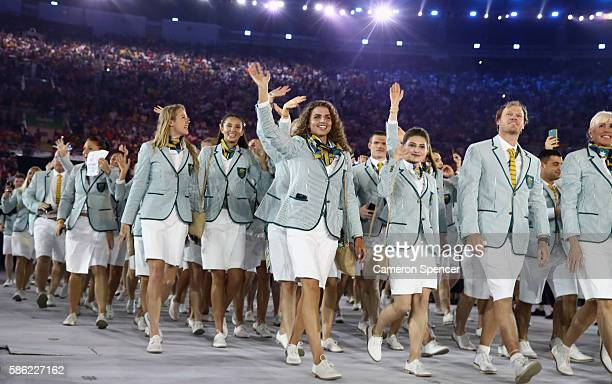 Members of the Australia team take part in the Opening Ceremony of the Rio 2016 Olympic Games at Maracana Stadium on August 5, 2016 in Rio de...