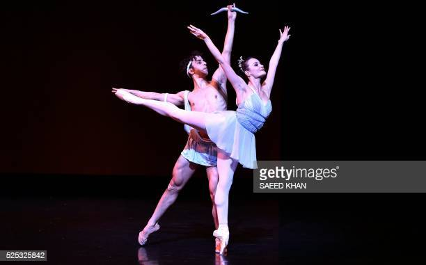 Members of the Australian ballet perform in the scene from 'Iana and Acteon' during the dress rehearsal for the national premiere of Symphony in C...