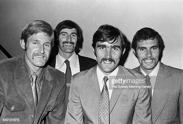 Members of the Australian cricket team during their match against Warwickshire in the 1972 tour of England from left Ross Edwards Dennis Lillee Paul...