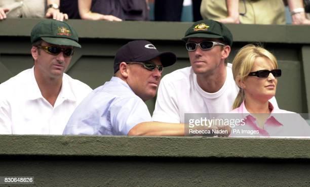 Members of the Australian cricket team Steve Waugh Shane Warne and Glenn McGrath watch the Mens Final match between Australia's Pat Rafter and...