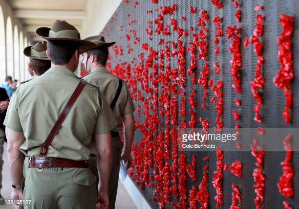 Members of the Australian Defence Force attend the Remembrance Day Commemoration Service at the Australian War Memorial on November 11 2011 in...