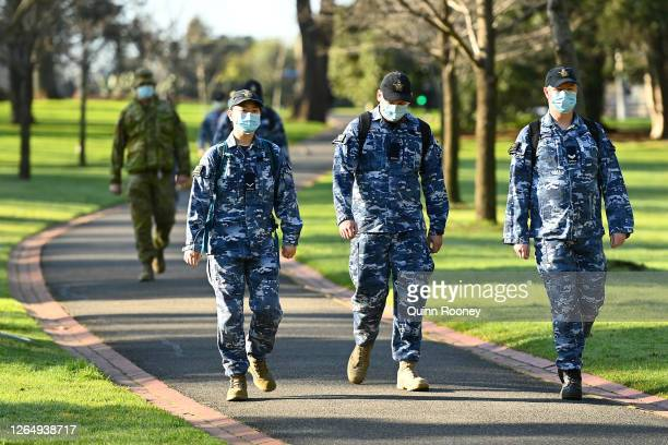 Members of the Australian Defence Force walk through Fitzroy Gardens on August 10, 2020 in Melbourne, Australia. Metropolitan Melbourne is under...