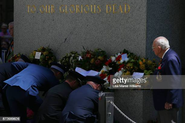 Members of the Australian Forces place wreaths during the Remembrance Day Service held at the Cenotaph Martin Place on November 11 2017 in Sydney...