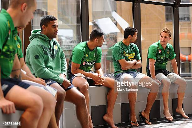 Members of the Australian Kangaroos team relax prior to a recovery session at the InterContinental Hotel Wellington on November 11 2014 in Wellington...