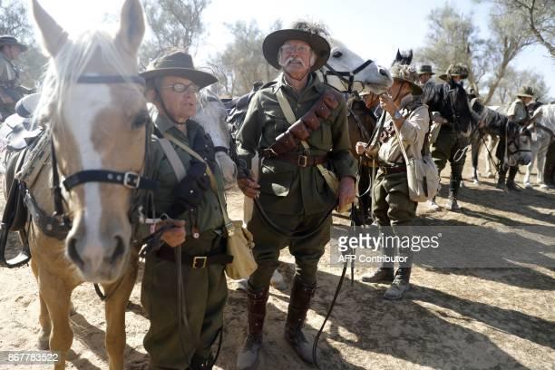 Members of the Australian Light Horse association prepare their horses on October 29 2017 near BeerSheva on the northern Israeli desert during a...