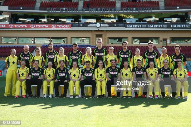Members of the Australian mens cricket and women's Southern Stars cricket teams pose for a group photograph before a Australia T20 training session...