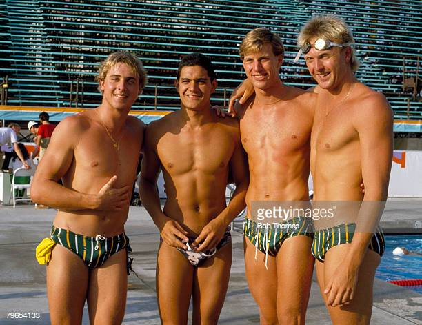 Members of the Australian Olympic swimming team from left to right Mike Delaney Greg Fasala Mark Stockwell and Neil Brooks nicknamed 'The Mean...