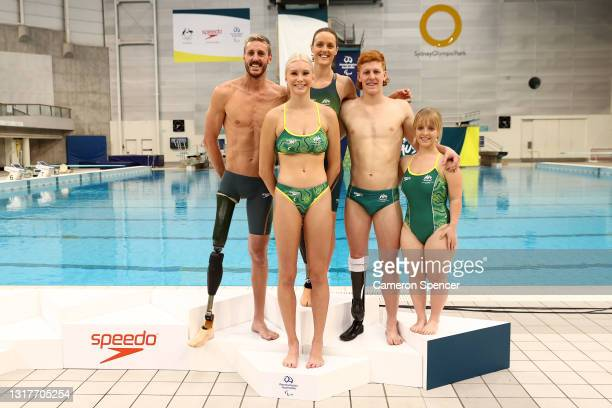 Members of the Australian Paralympic swim team Ellie Cole, Brenden Hall, Tiffany Thomas Kane, Keira Stephens and Col Pearse pose during the...
