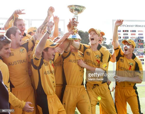 Members of the Australian team celebrate winning the ICC U19 Cricket World Cup Super League Final at Bert Sutcliffe Oval on January 30, 2010 in...