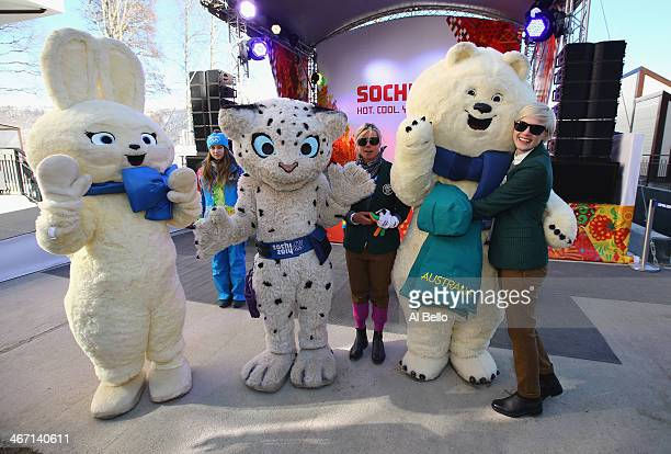Members of the Australian team pose with the Olympic mascots at a welcoming ceremony in the Athletes Village ahead of the Sochi 2014 Winter Olympics...