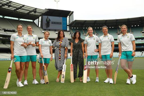 Members of the Australian Women's Cricket Team Ellyse Perry, Tayla Vlaeminck, Georgia Wareham, Meg Lanning and Molly Strano pose with Co-producers...